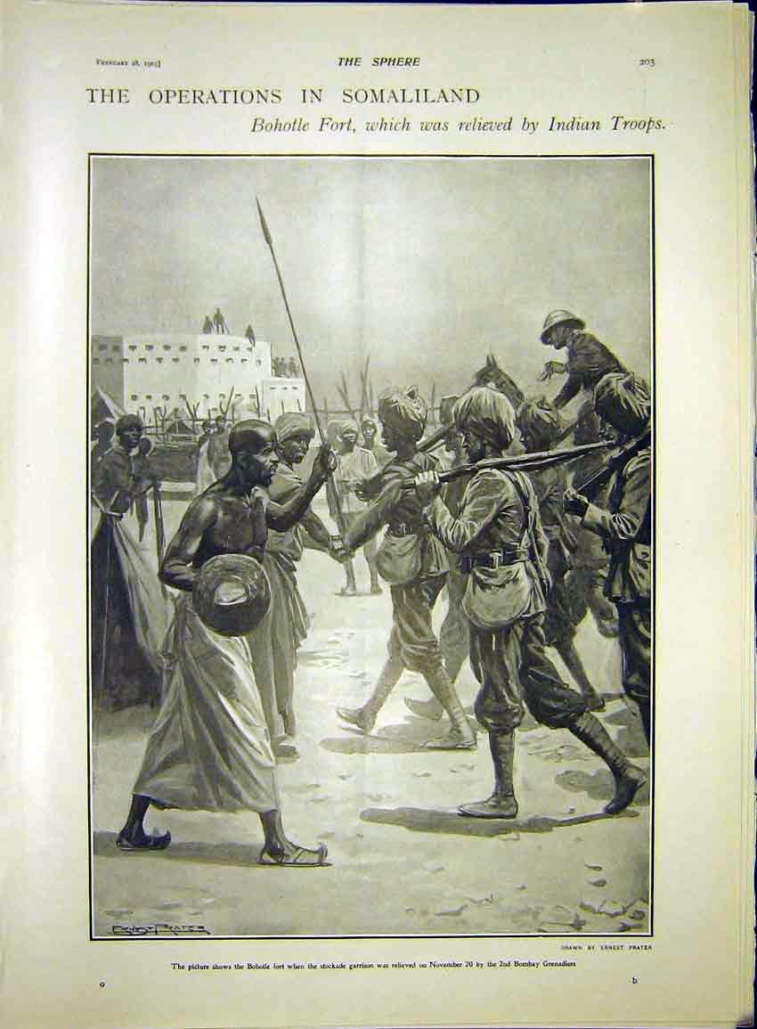 Print Somaliland Africa Bohotle Fort Indian Troops 1903 037341 Old Original