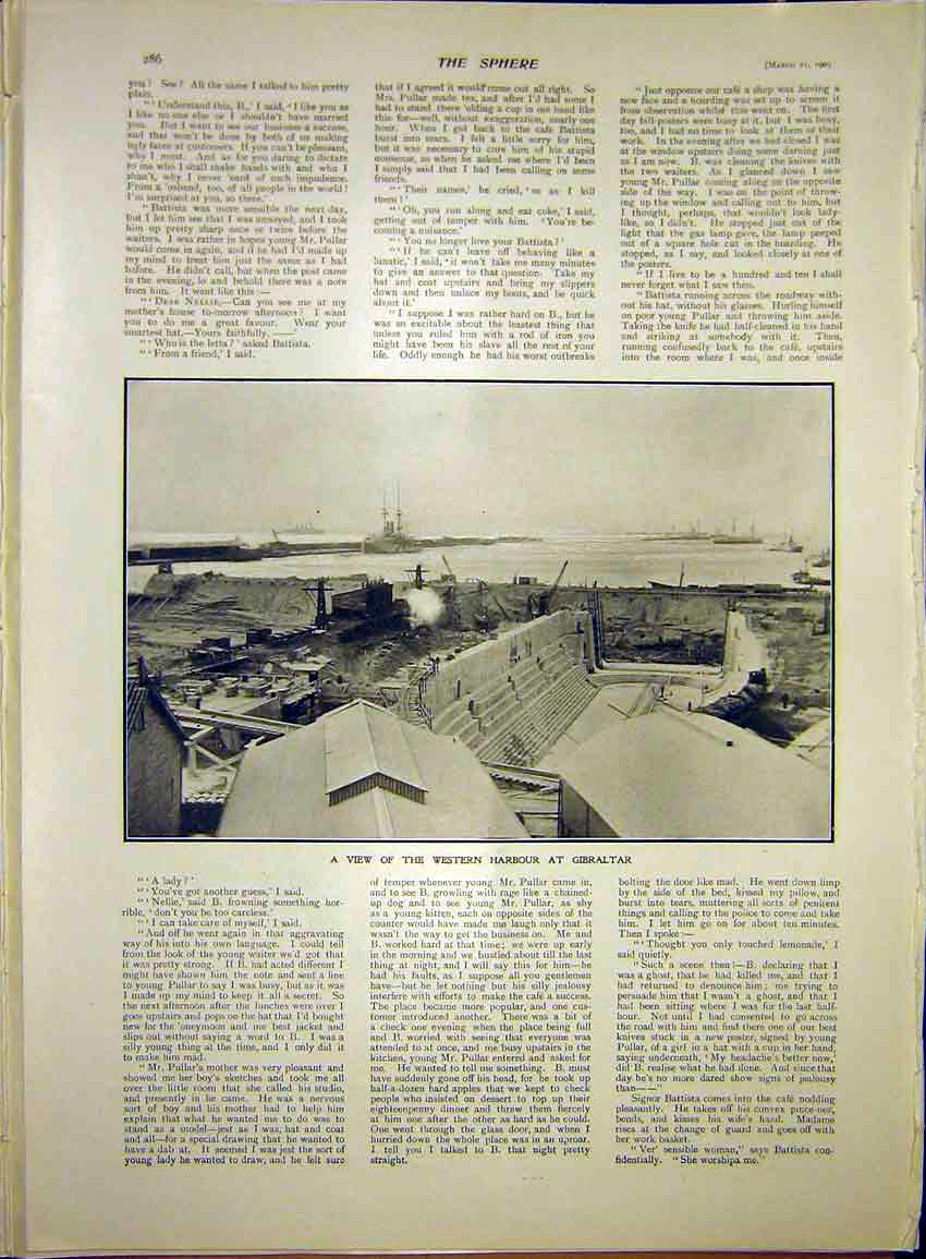 Print Western Harbour Gibraltar Construction 1903 867341 Old Original