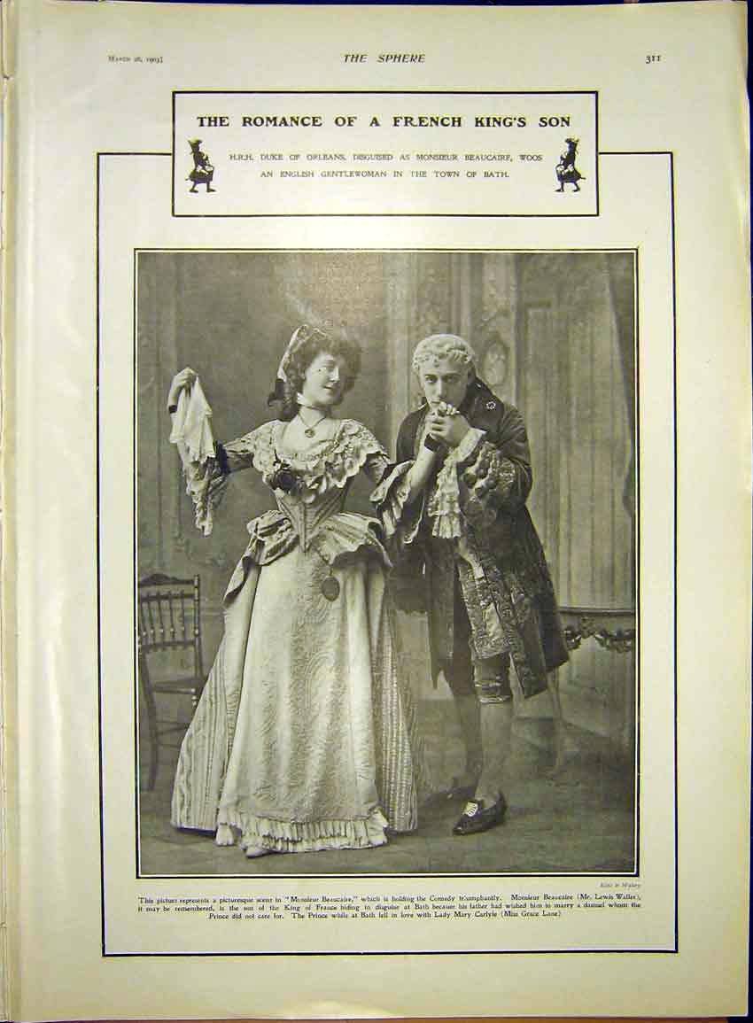 Print Theatre Waller Lane Romance French King Son 1903 117341 Old Original