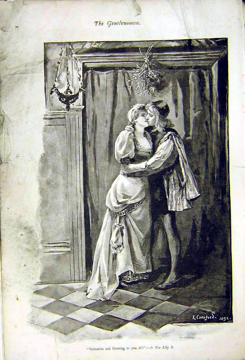 Print Painting Crawford Salutation As You Like It 1892 307371 Old Original