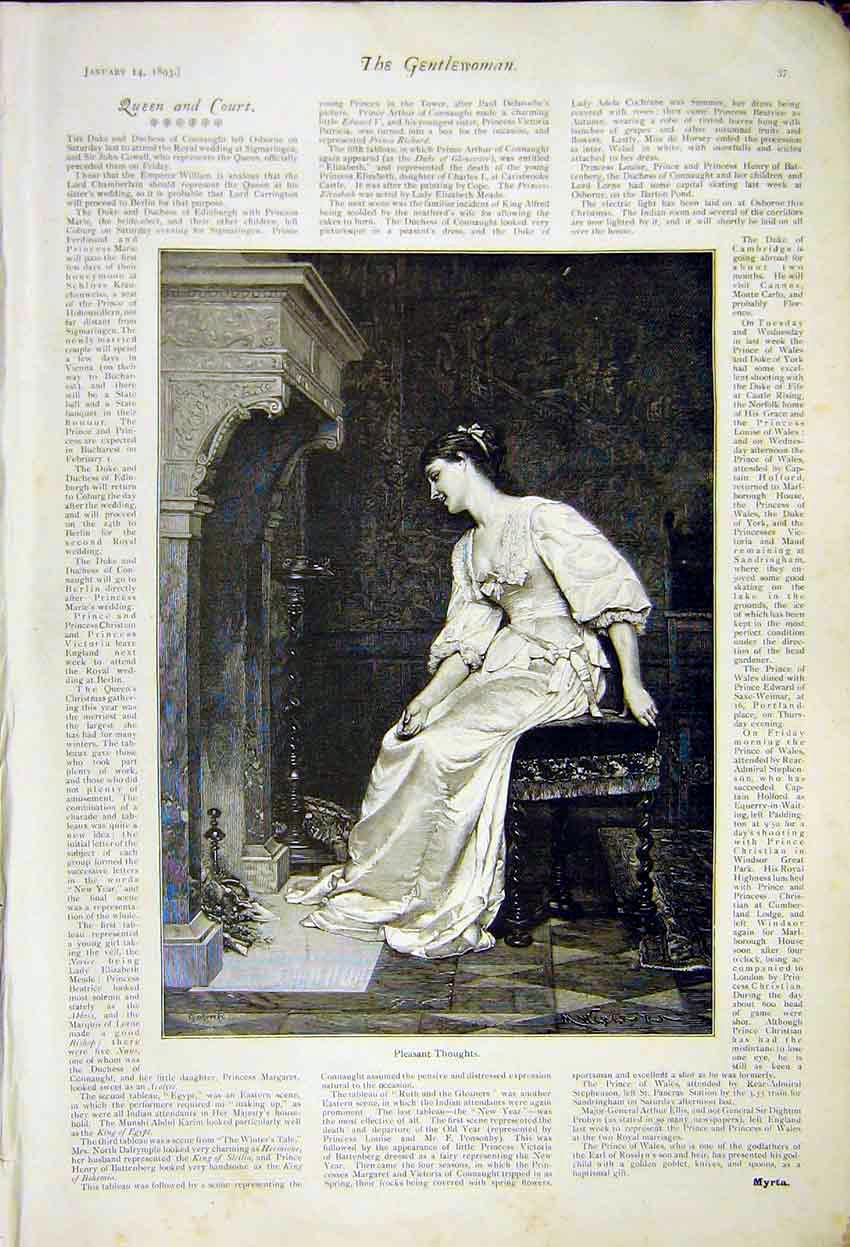 Print Pleasant Thoughts Sketch Lady Fireside Queen Court 1892 377371 Old Original