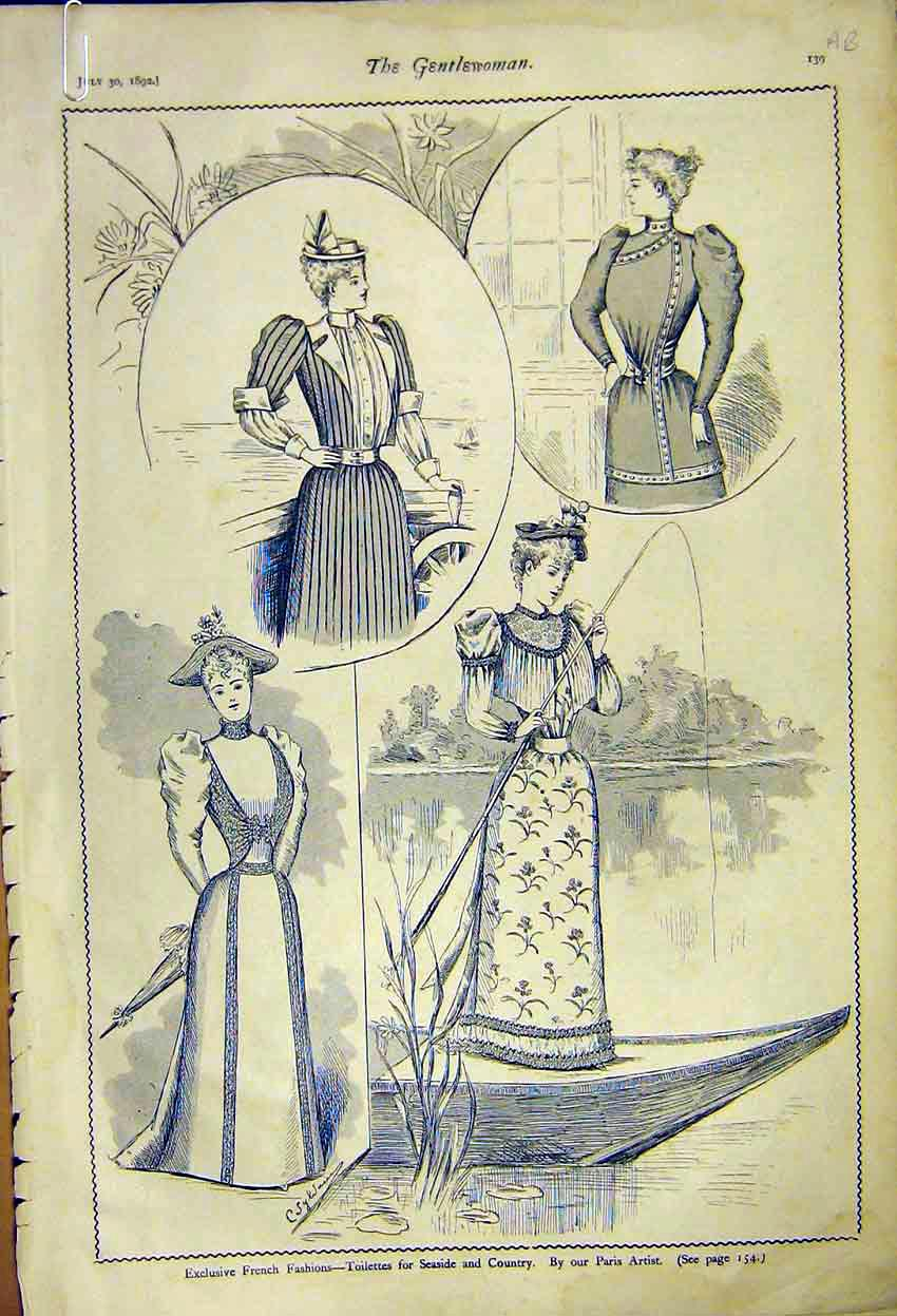 Print French Fashion Ladies Dress Seaside Country 1892 39A7371 Old Original