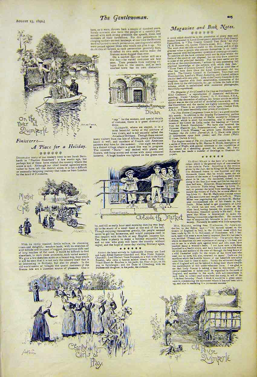 Print Charity Girls Play Finisterre Holiday Dinan Saint 1892 057371 Old Original
