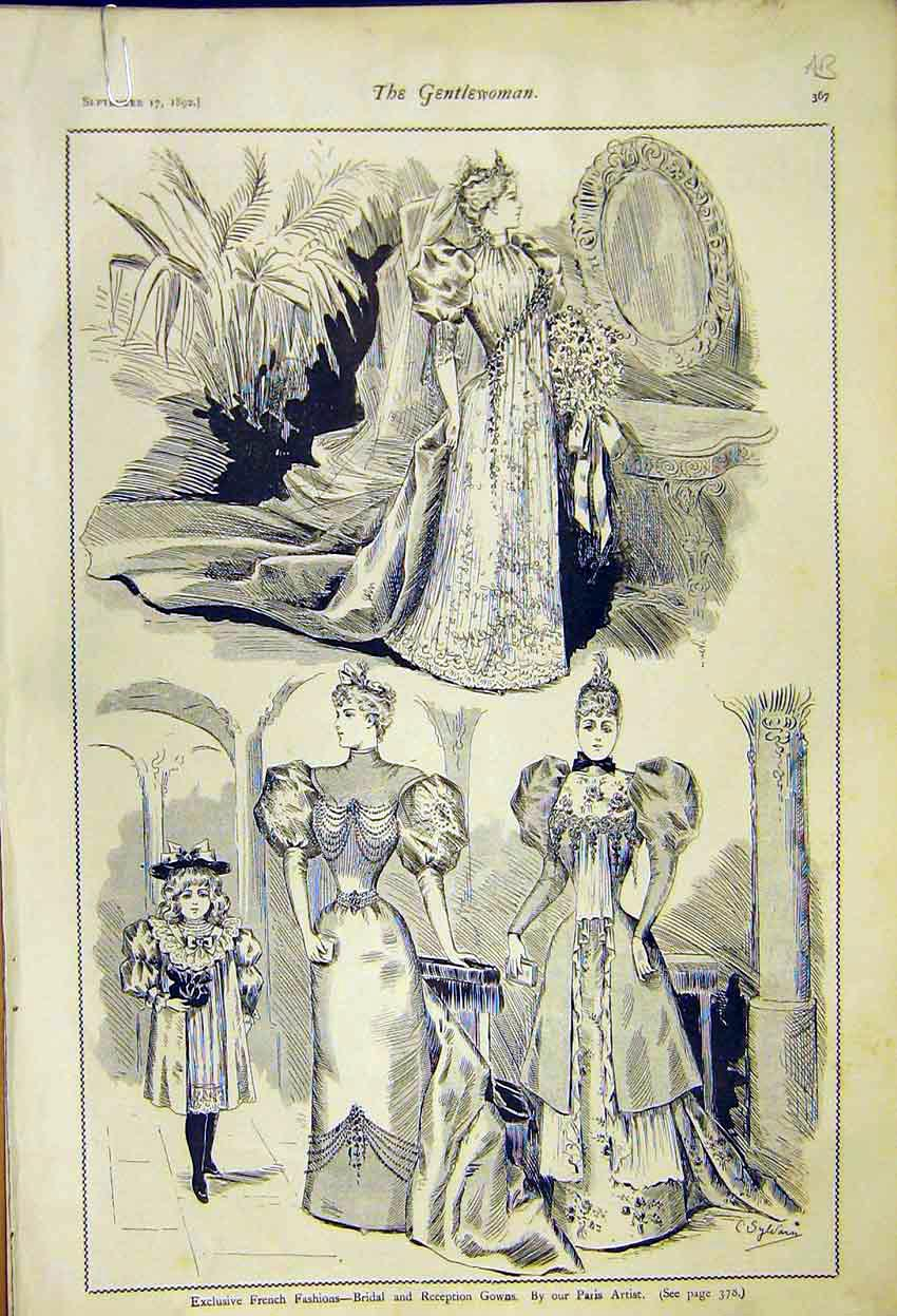 Print French Ladies Fashion Reception Gowns Dinner Theatre 67A7371 Old Original