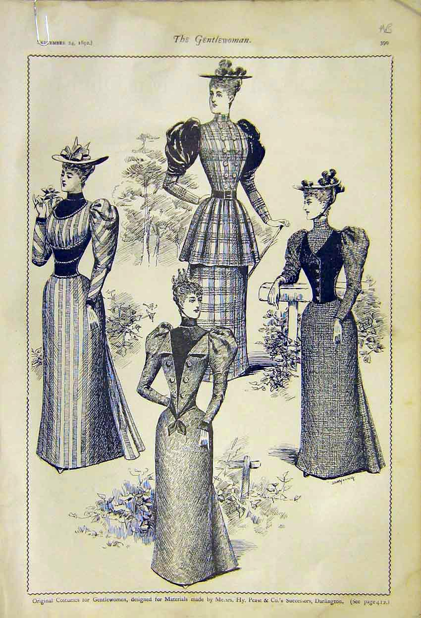 Print Costumes Ladies Fashion Pease Darlington Burnett 1892 99A7371 Old Original