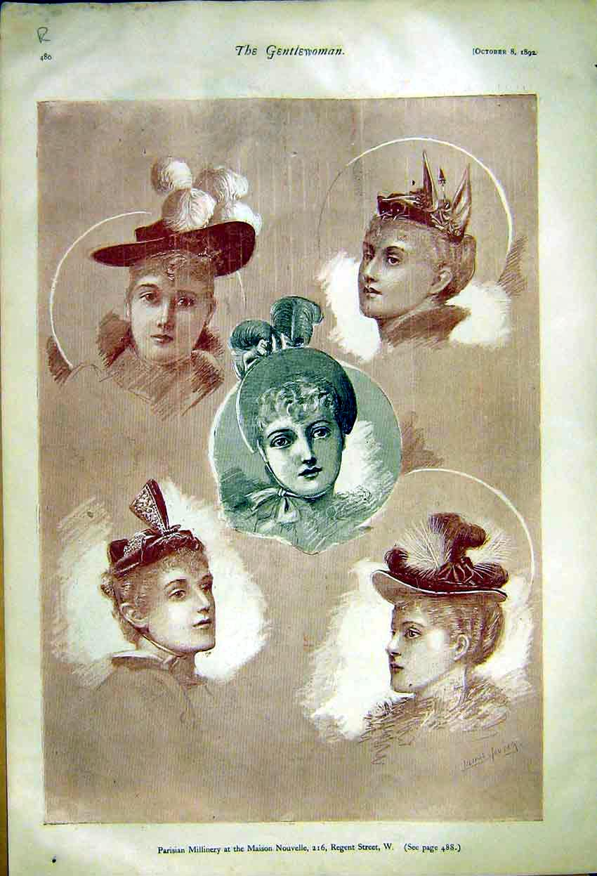 Print Paris Millinery Ladies Fashion Nouvelle Wraps Dickens 80R7371 Old Original