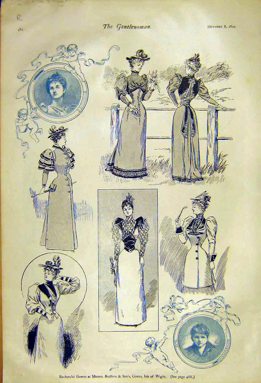 Print Recherche Gowns Ladies Fashion Redfern Woolland 1892 82R7371 Old Original