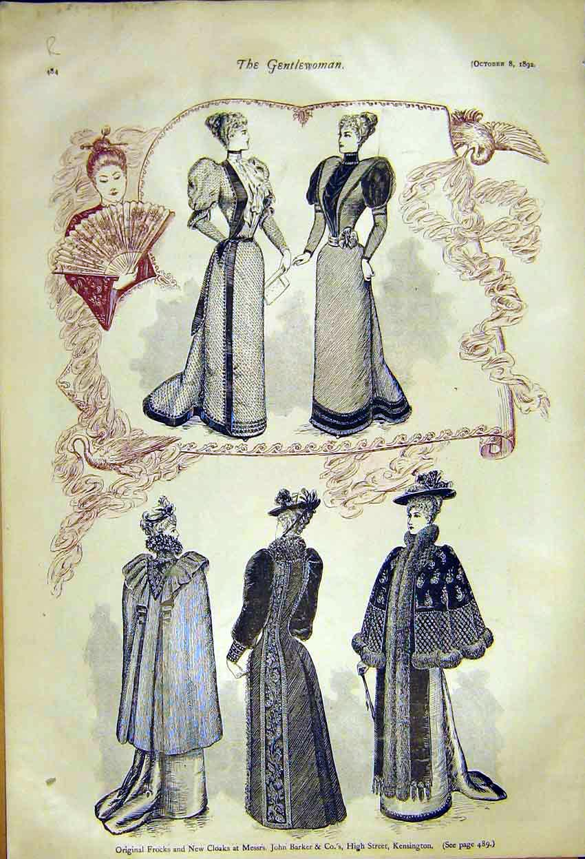 Print Frocks Ladies Fashion Cloaks Barker Hats Nella'S 189248 84R7371 Old Original