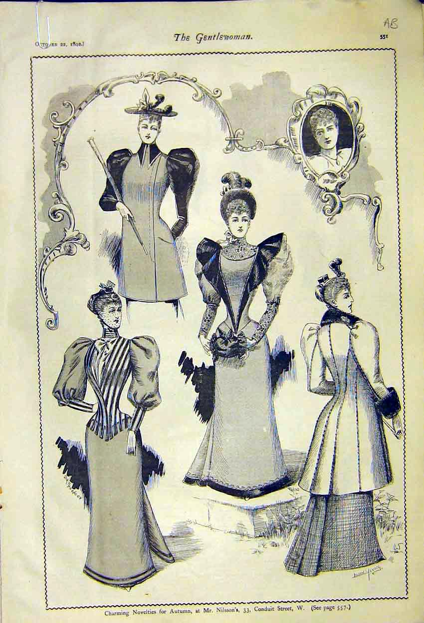 Print Novelties Autumn Ladies Fashion Gowns Robinsons 1892 51A7371 Old Original