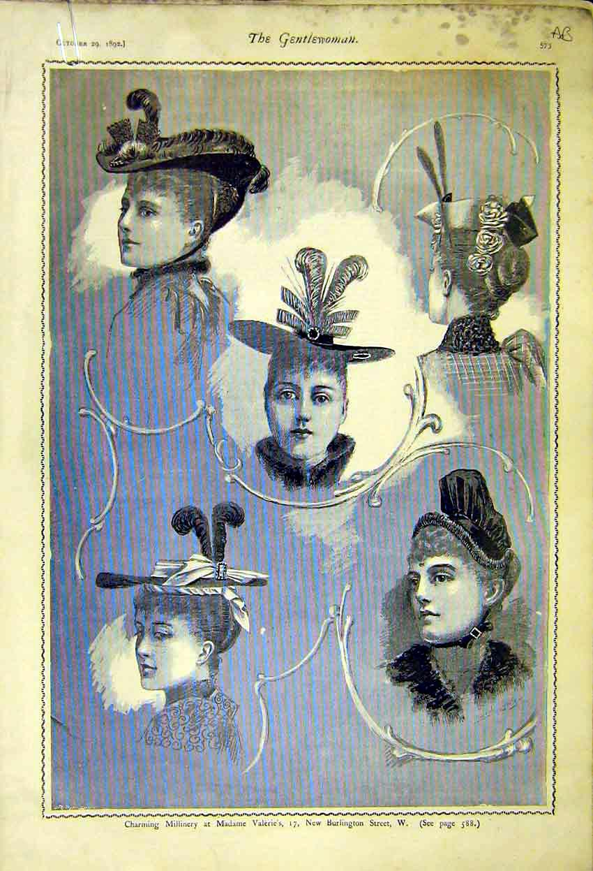Print Millinery Madame Valeries Gowns Ladies Fashion Pitts 73A7371 Old Original