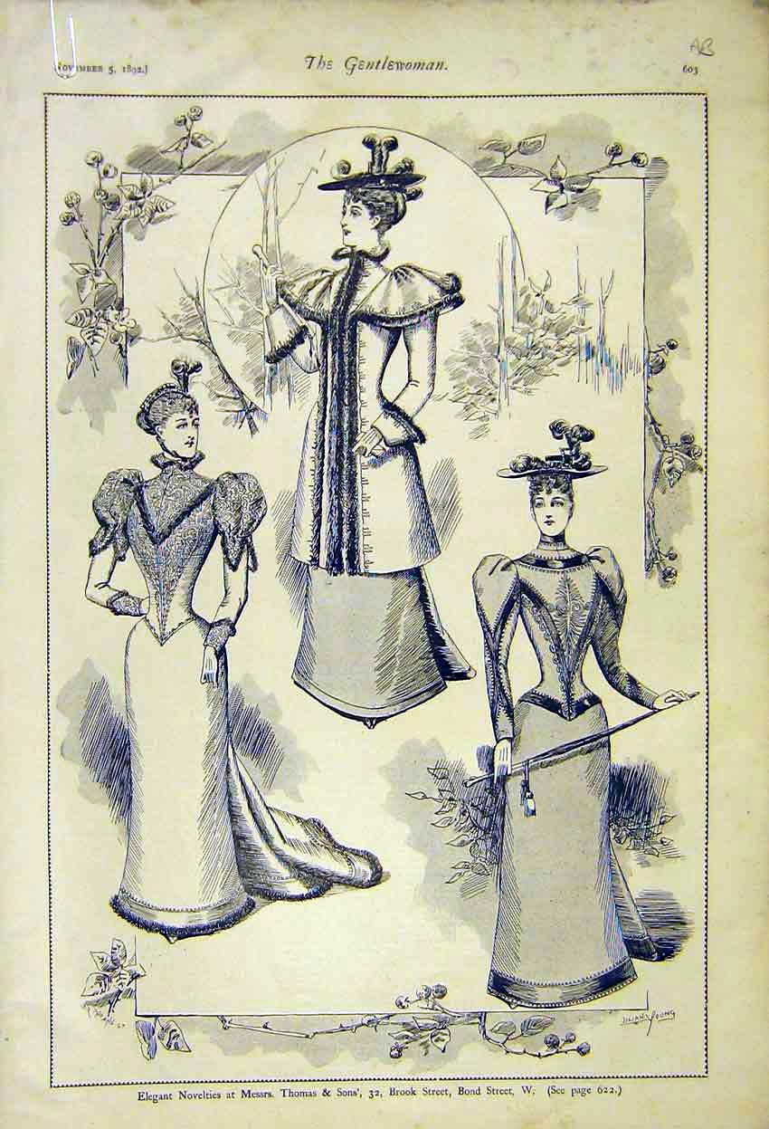 Print Ladies Fashion Gowns Thomas Son Novelties Millinery 03A7371 Old Original