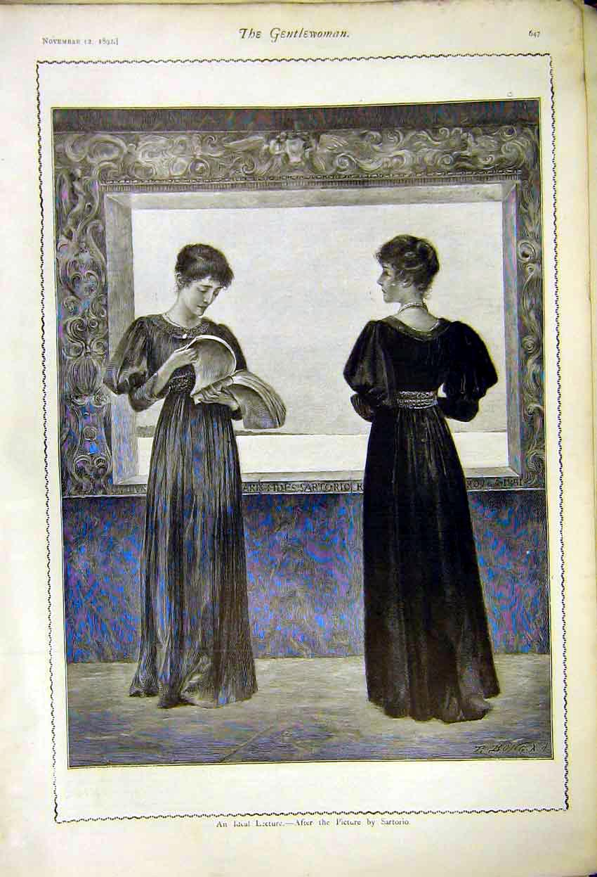 Print Ideal Lecture Picture Sartorio Ladies 1892 477371 Old Original