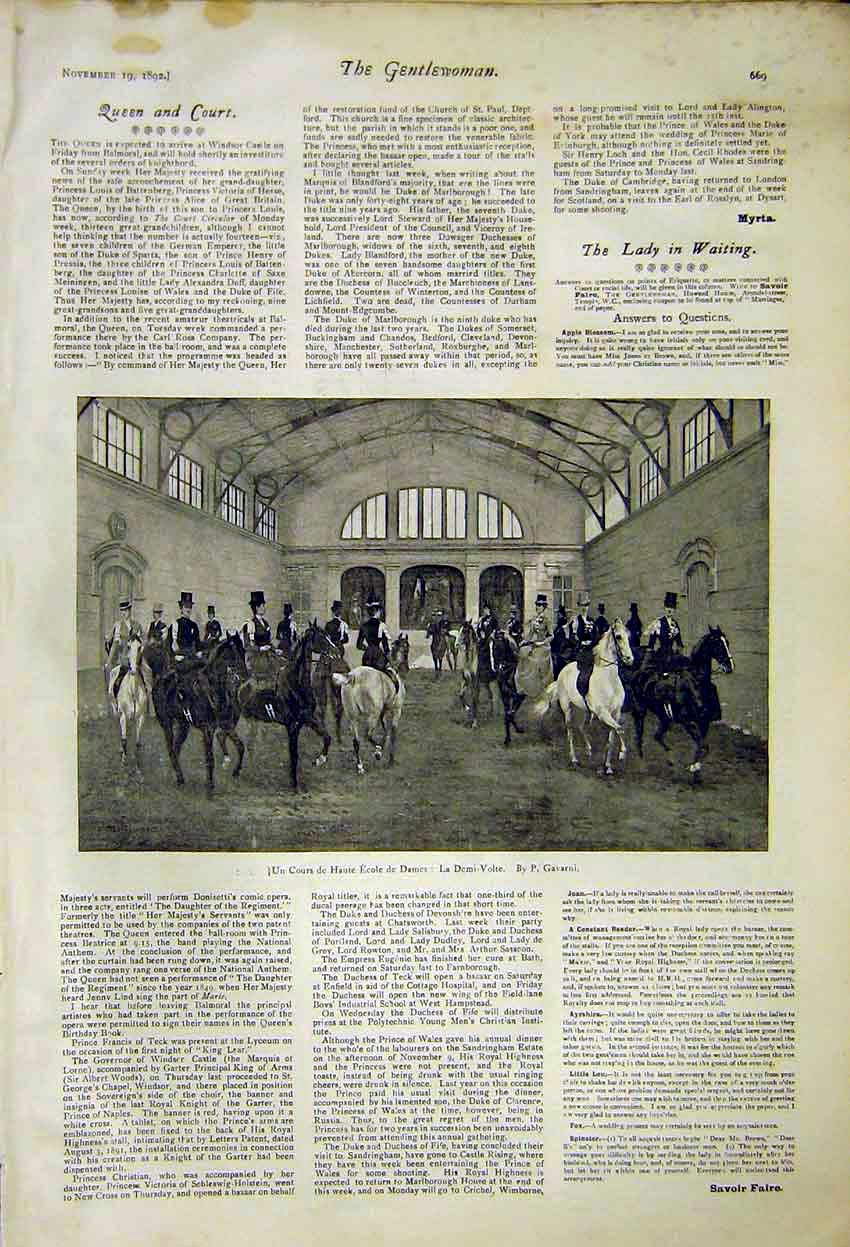 Print Queen Court Horse News Royal 1892 697371 Old Original