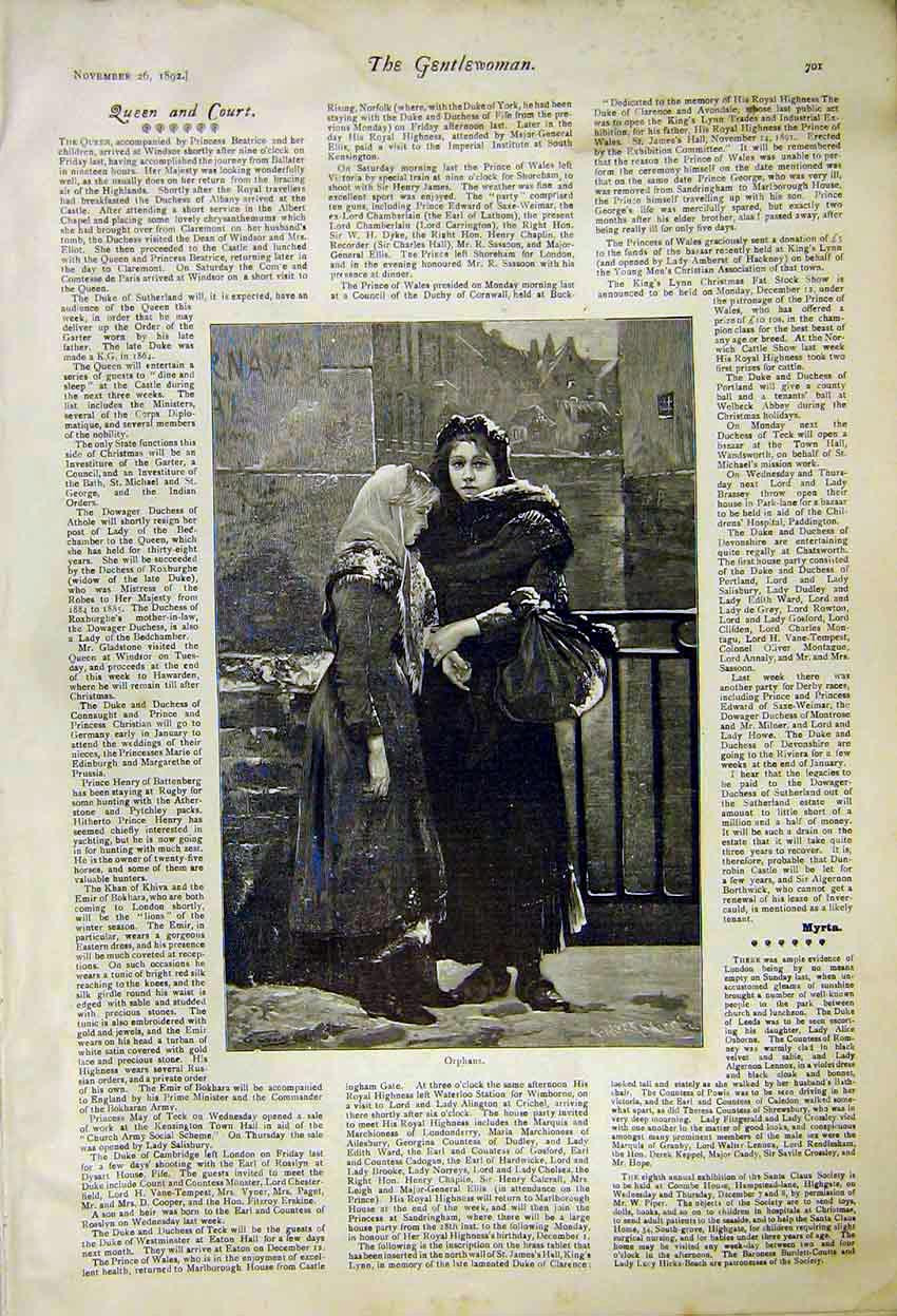 Print Painting Orphans Queen Court News 1892 017371 Old Original