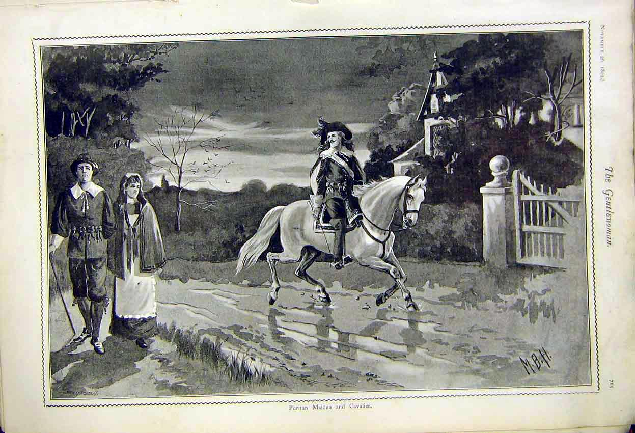 Print Puritin Maiden And Cavalier Painting Mbh 1892 137371 Old Original