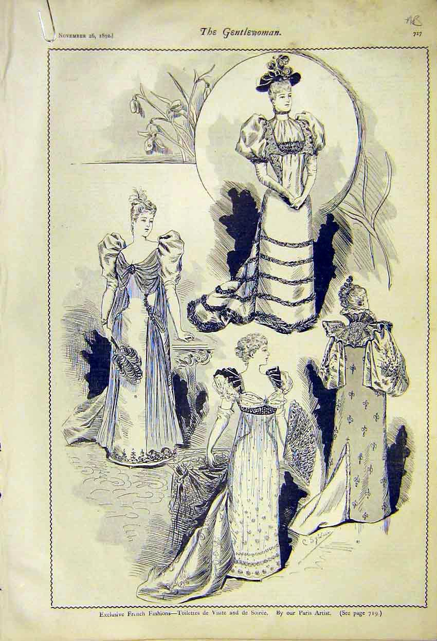 Print French Ladies Fashion Gowns Soiree Toilettes Fancy 1892 17A7371 Old Original