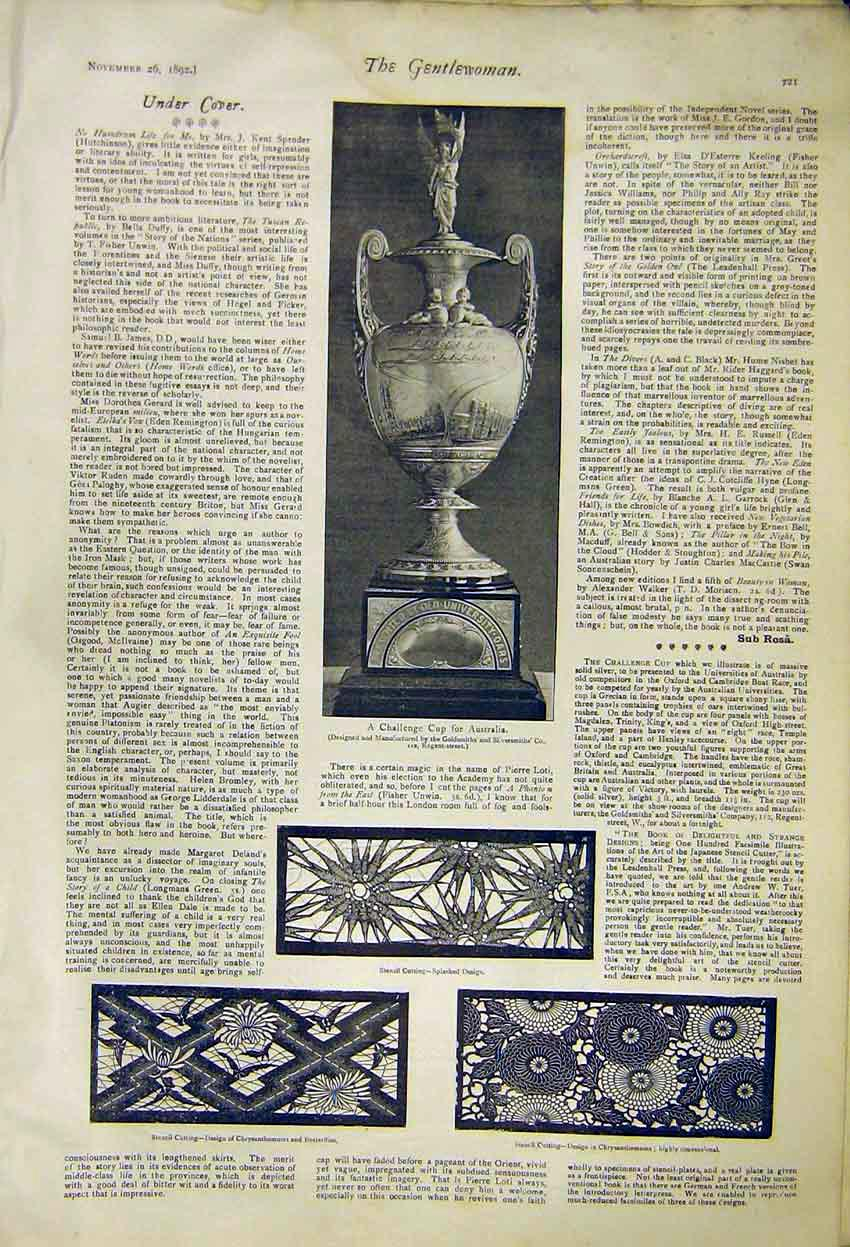 Print Challenge Cup Australia Stencil Cuttings 1892 217371 Old Original