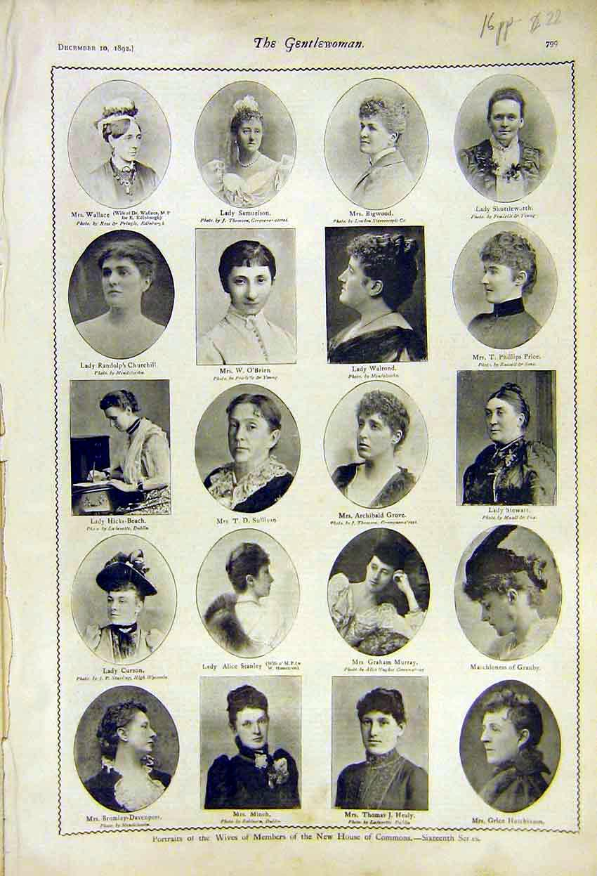 Print Portraits Wives Mp Commons Members 1892 99A7371 Old Original