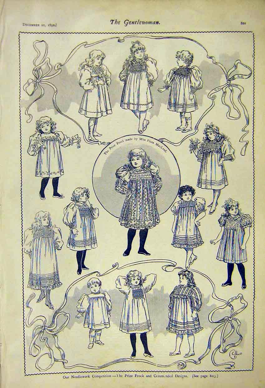 Print Children Clothing Needlework Competition Frock 1892 017371 Old Original