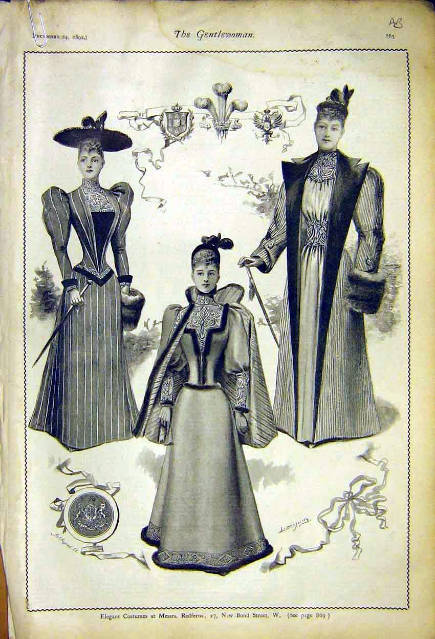 Print Costumes Ladies Fashion Redferns Lady Brookes 1892 63A7371 Old Original