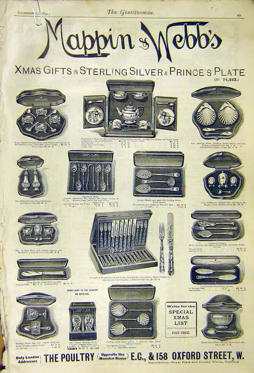 Print Advert Mappin Webb Christmas Gifts Oxford Street 1892 017371 Old Original