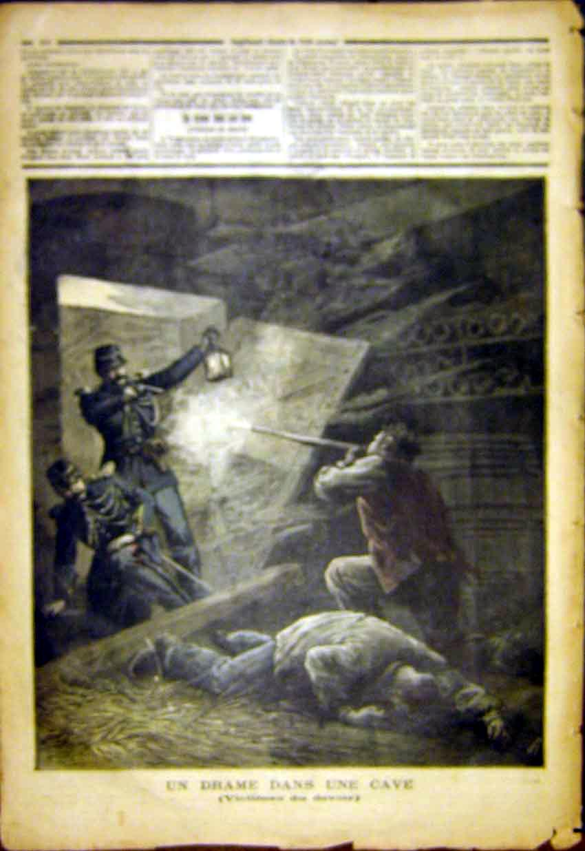 Print Drama Cave Victmims Devoir Police French 1892 247391 Old Original