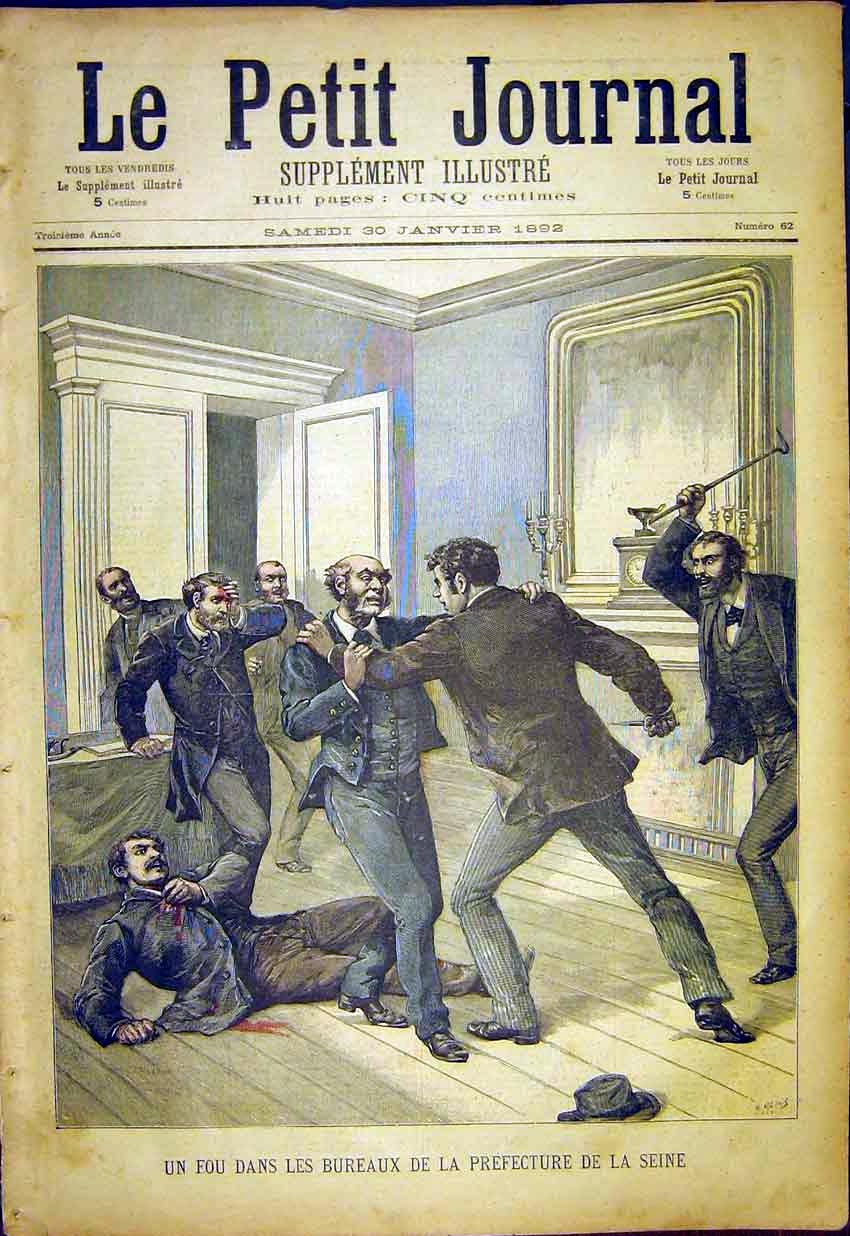 Print Insane Office Prefecture Seine Paris French 1892 347391 Old Original