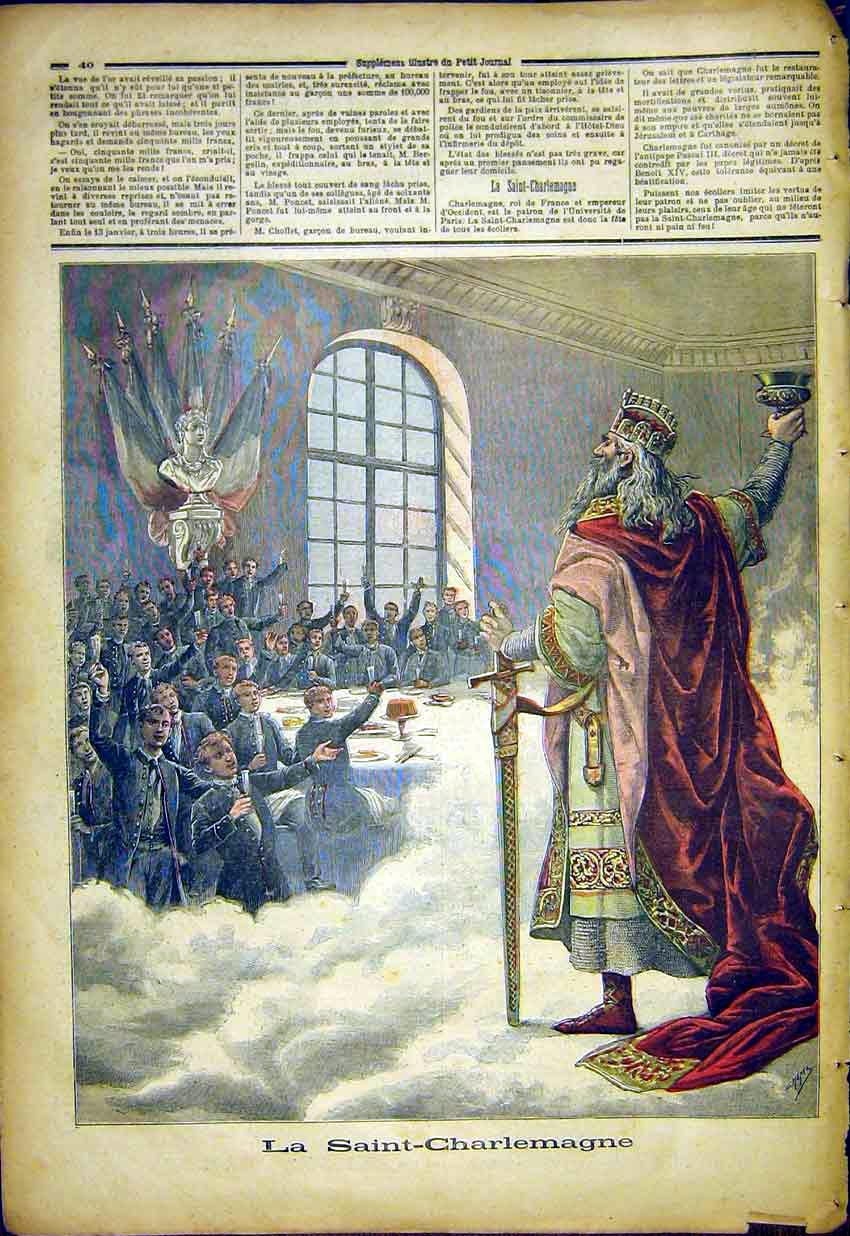 Print Saint Charlemagne French 1892 407391 Old Original