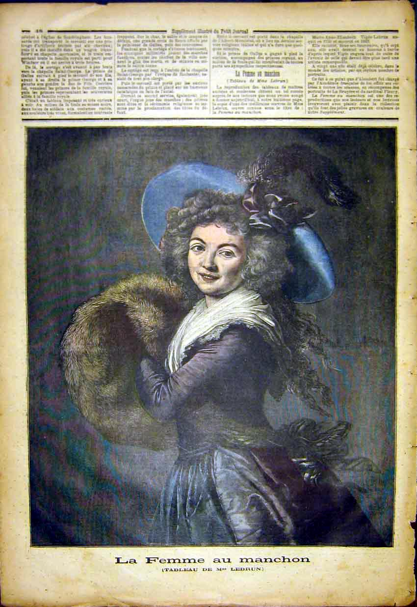 Print Portrait Lady Woman Sleeve Fur Lebrun French 1892 487391 Old Original