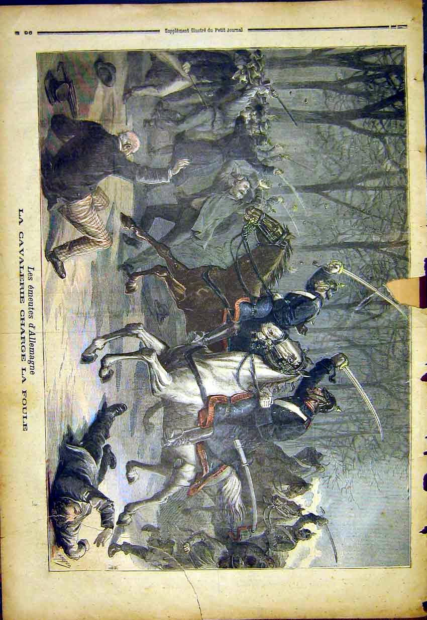 Print Cavalry Charge Foule War Battle Allemagne 1892 967391 Old Original