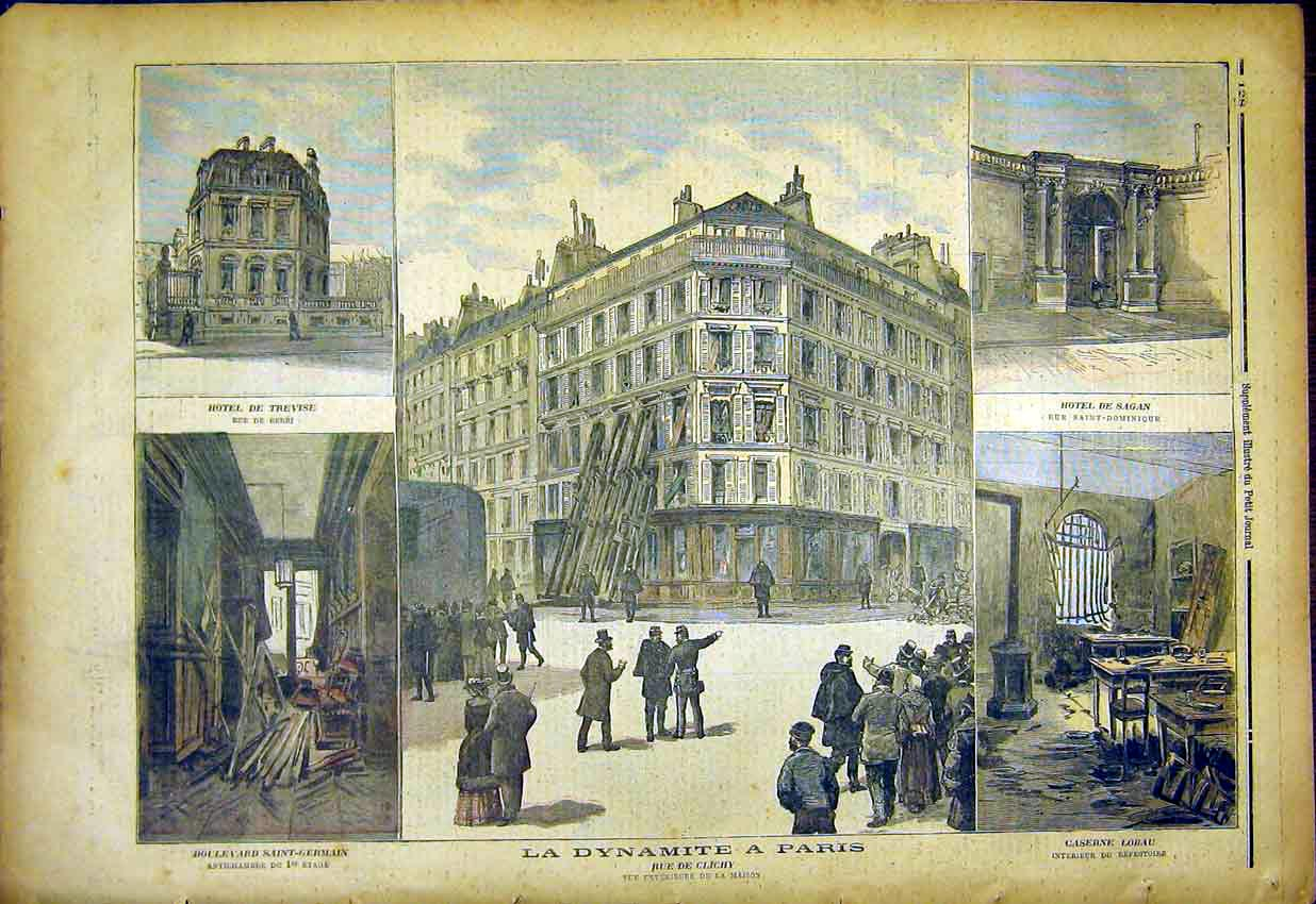 Print Paris Dynamite Clichy Street Hotel France 1892 287391 Old Original