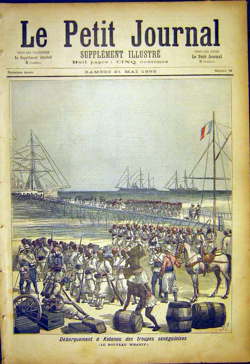 Print Sengalese Troops Kotonou Wharf Military 1892 627391 Old Original
