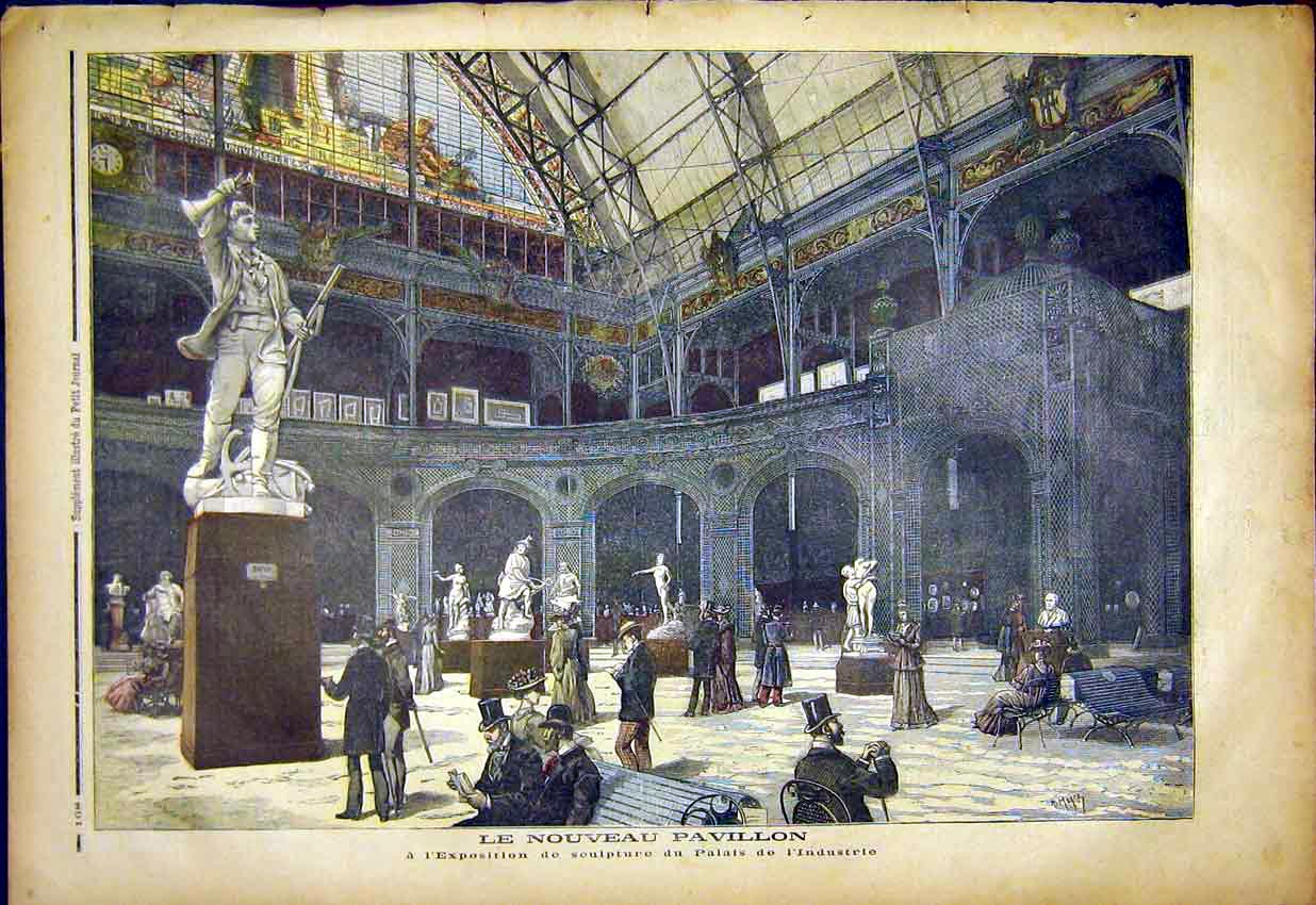Print Pavilion Sculpture Exhibition Industry Palace 1892 687391 Old Original
