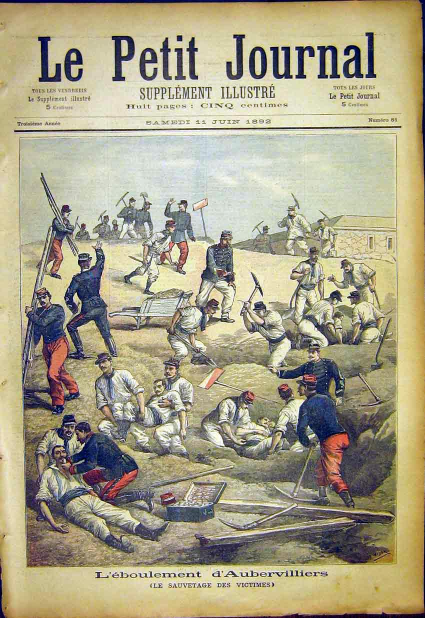 Print Aubervilles Wounded Soldier Battle French 1892 867391 Old Original