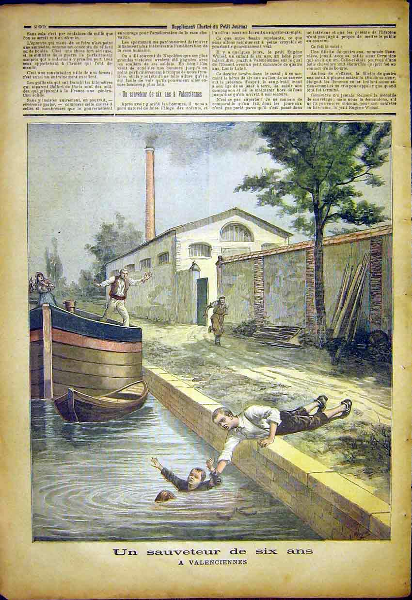 Print Canal Drown Child Savior Valenciennes French 1892 007391 Old Original
