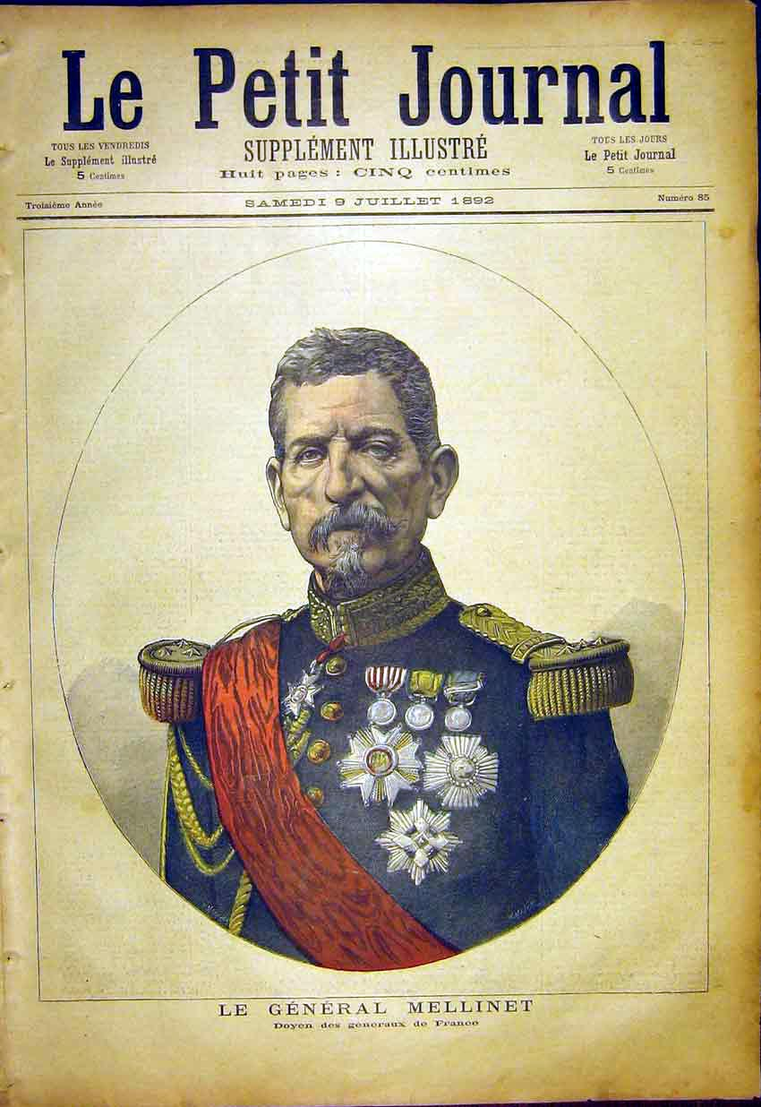 Print Portrait General Mellinet France Military French 187391 Old Original