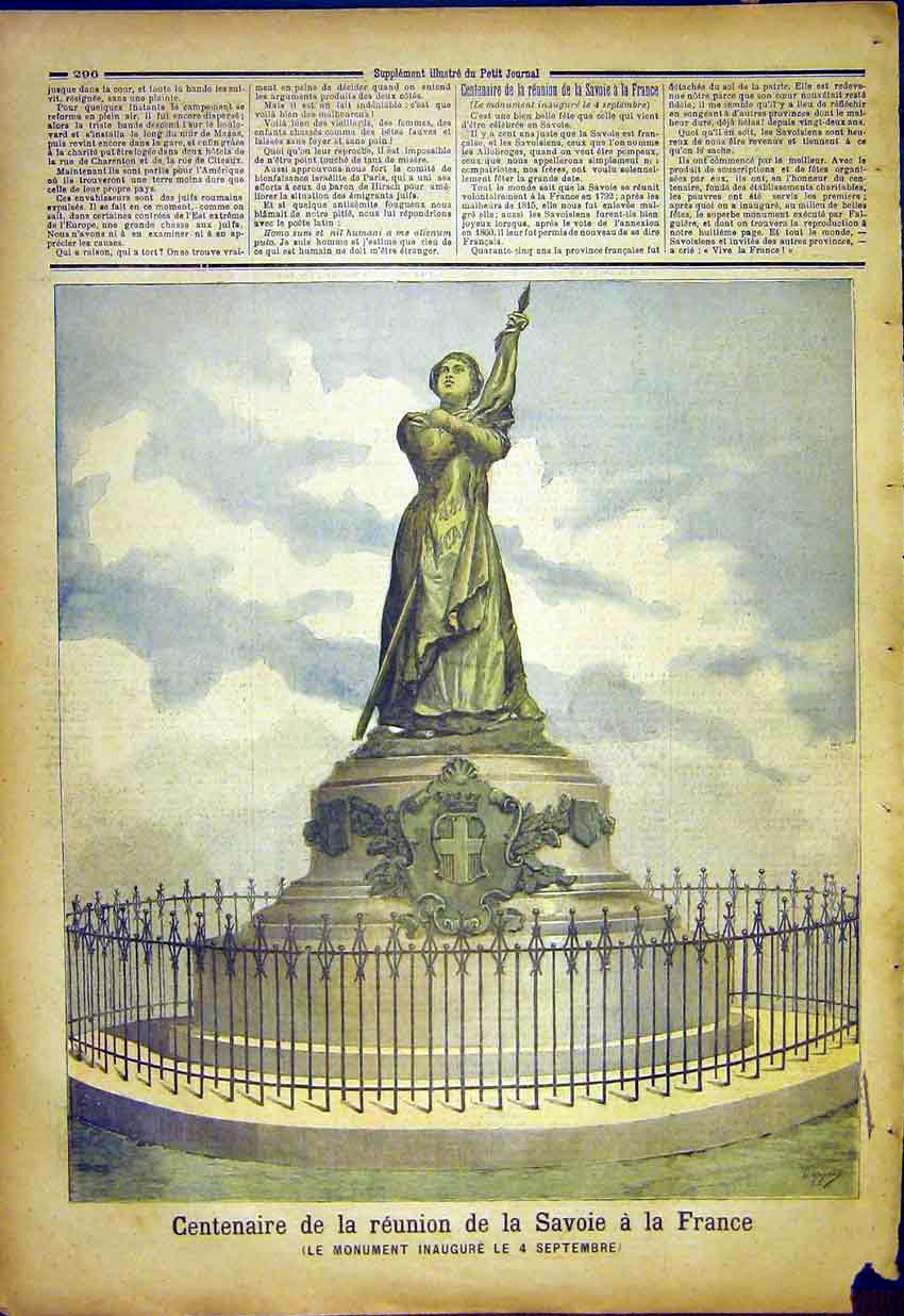 Print Centenary France Savoy Monument French 1892 967391 Old Original