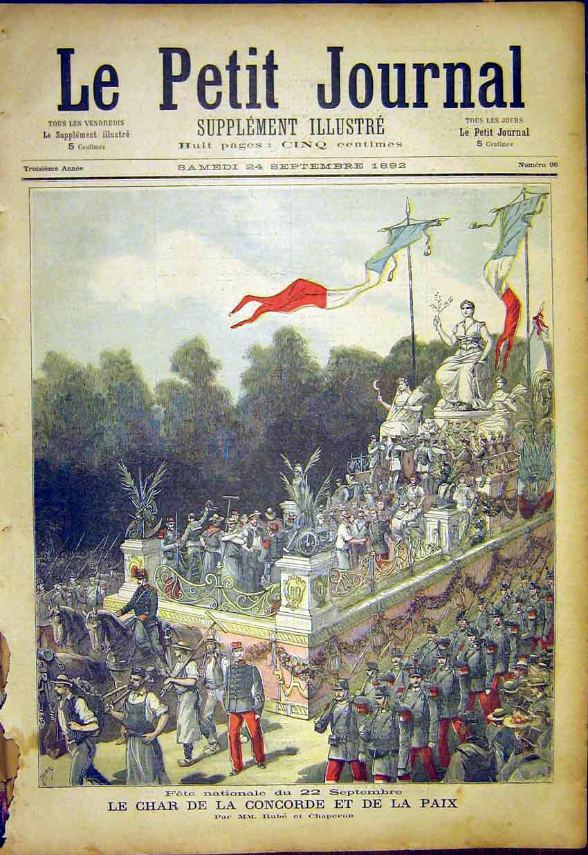 Print Fete Peace Festival Concorde Paris French 1892 067391 Old Original