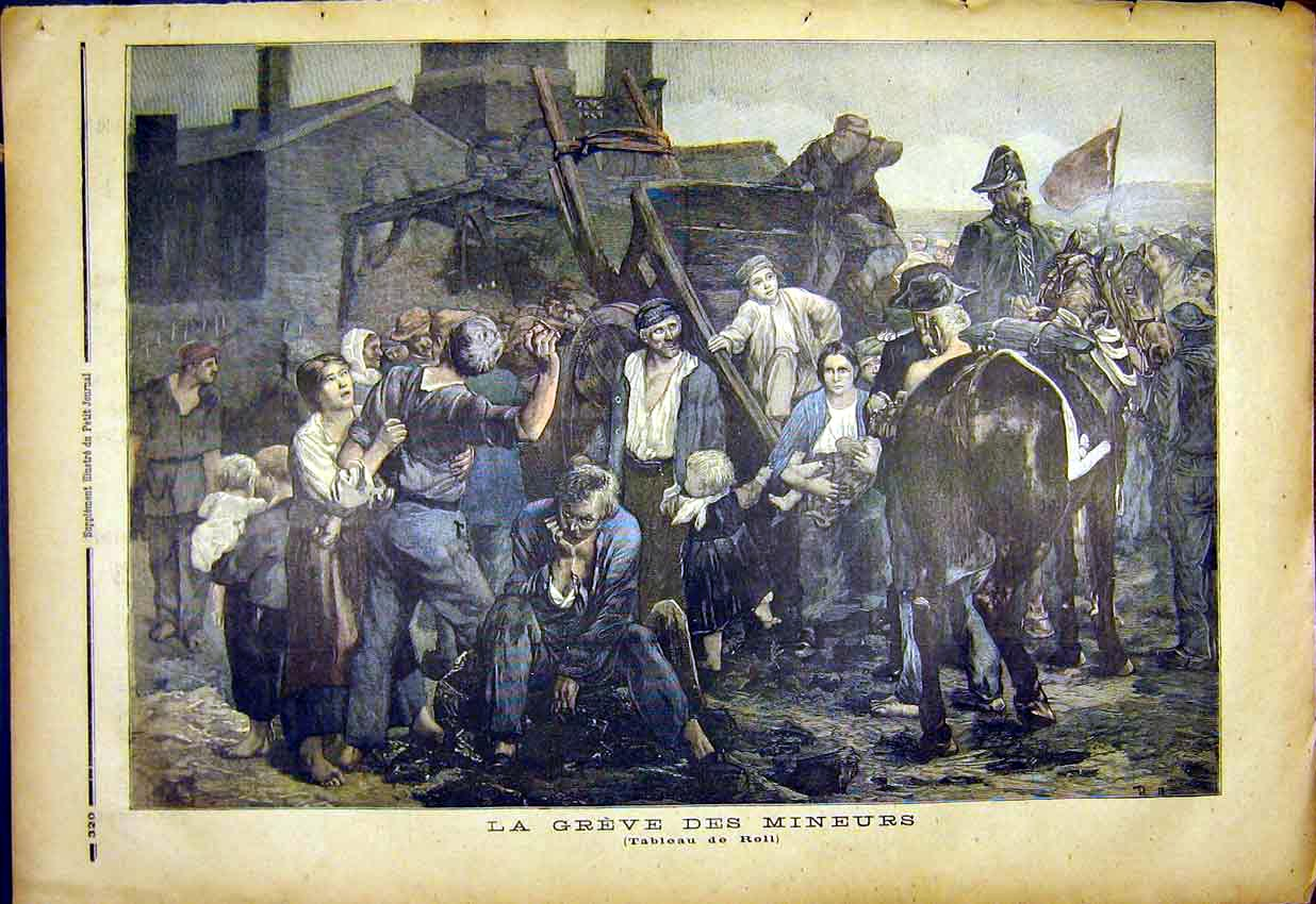 Print Miners Mine Strike Grievance French 1892 207391 Old Original
