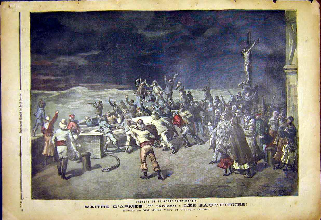 Print Port Saint-Martin Theatre Rescuers French 1892 527391 Old Original