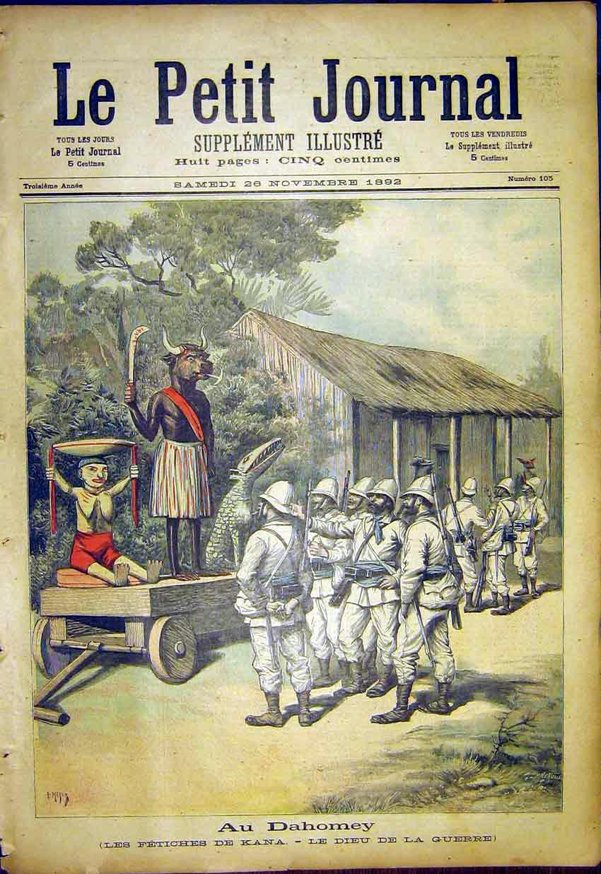 Print Dahomey Fetish Kana War God French 1892 787391 Old Original