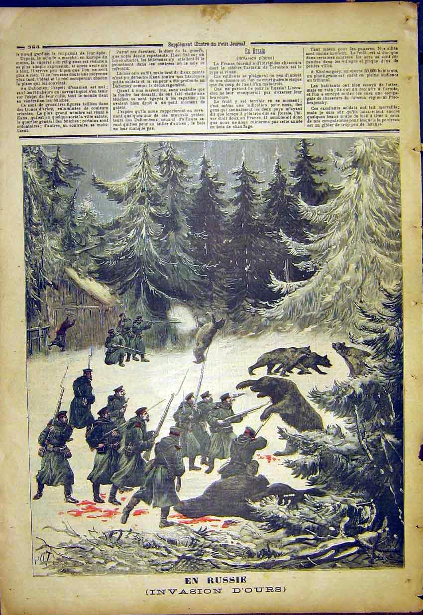 Print Russian Invasion Bear French 1892 847391 Old Original