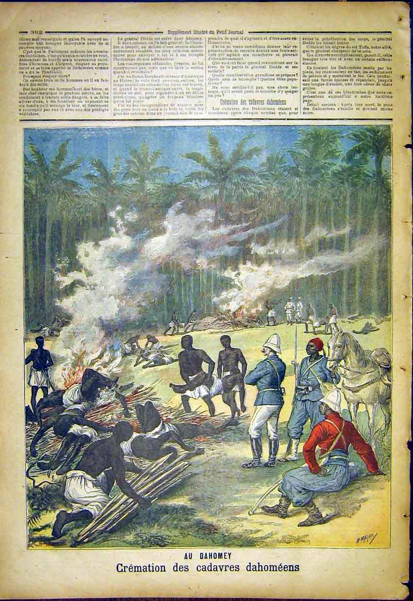 Print Dahomey Cremation Soldiers War French 1892 927391 Old Original