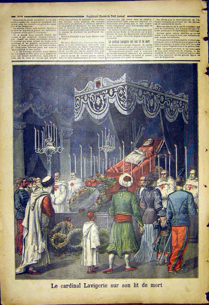 Print Cardinal Lavigerie Funeral French 1892 087391 Old Original