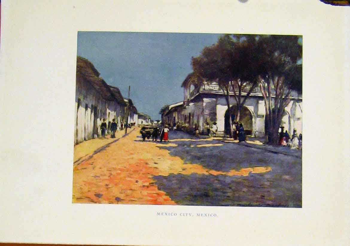 Print C1919 Mexico City Color Street Art 037401 Old Original