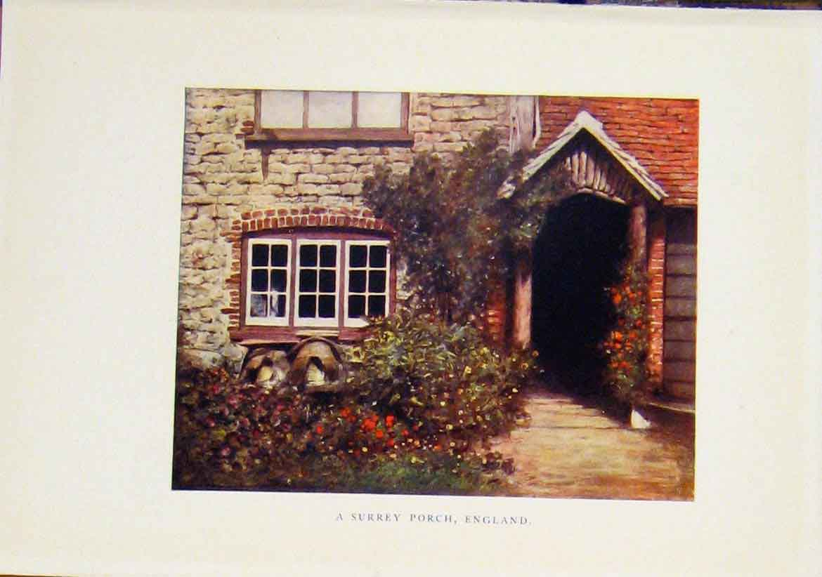 Print Surrey Porch England C1919 Fine Art 087401 Old Original