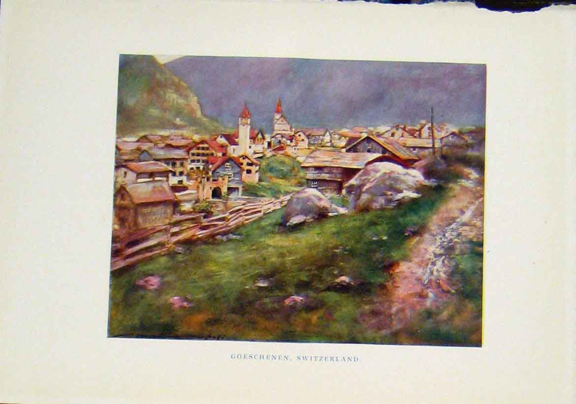 Print Goeschene Switzerland C1919 Color Fine Art 187401 Old Original