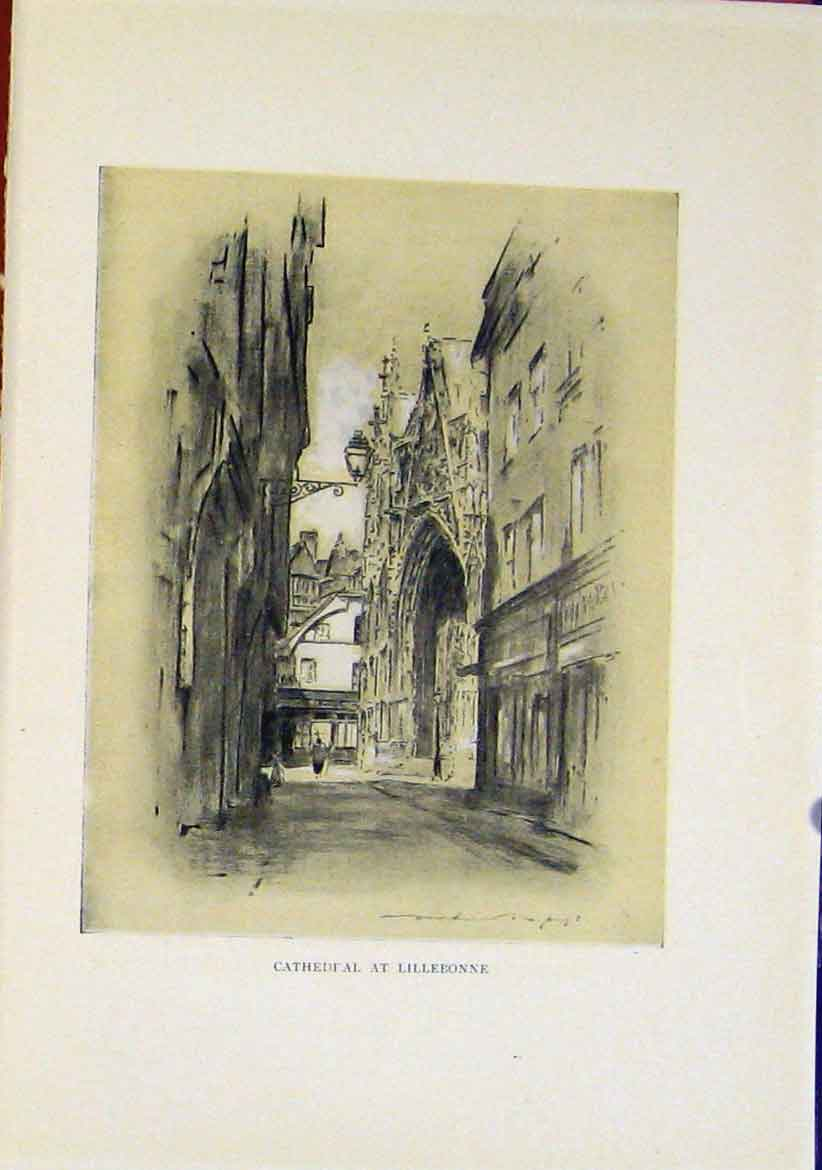 Print Cathedral Lillebonne Sketching Etching Sepia 077411 Old Original