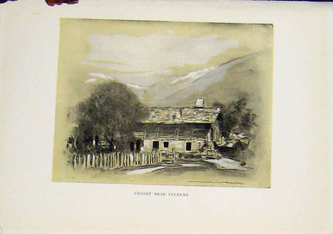 Print Chalet Lucerne Sekth Art Etching Drawing Sepia Style 107411 Old Original