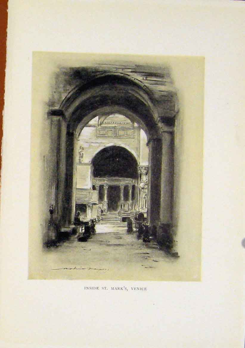 Print Inside St Marks Venice Italy Sepia Style C1919 167411 Old Original
